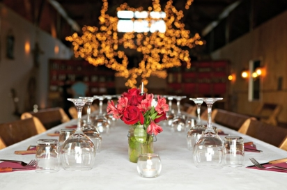 The table is set for a dinner party at Dancing Ewe Farm in Washington County.