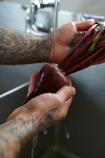 It always amazes me how much love Jude puts into the food he cooks even in the gentle way he washes each vegetable.