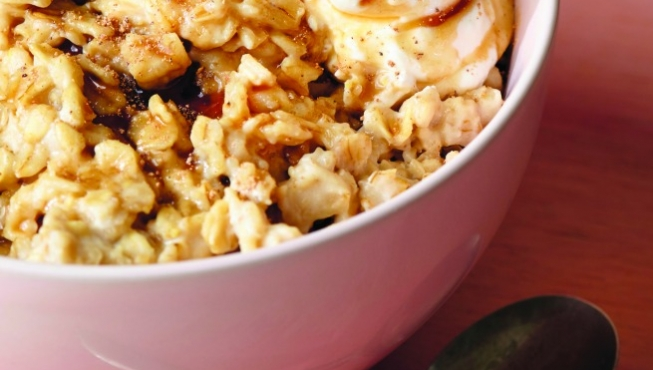 The Shop's go-to recipe for oatmeal features pomegranate molasses and cashew butter.